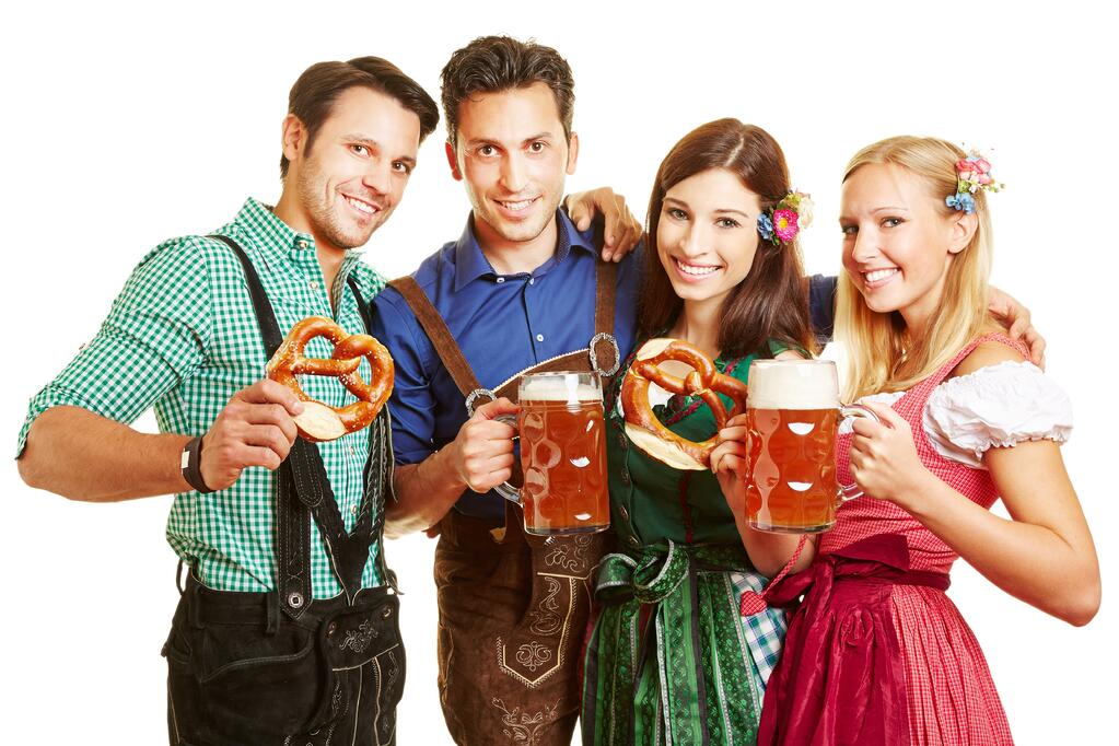 Oktoberfest group with bear and costumes