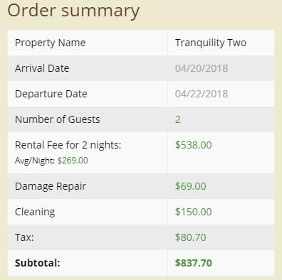 Cabin Pricing Summary View