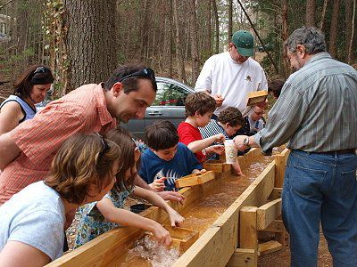 People Panning For Gold