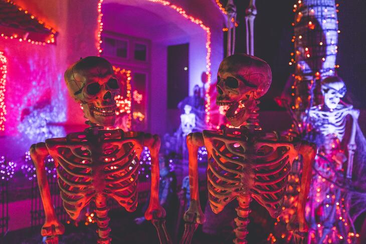 skeletons in front of decorated house